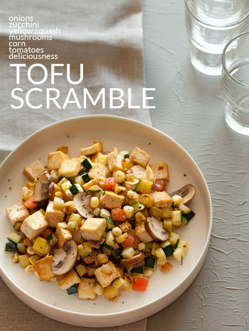 A recipe for a tofu scrabmle with squash, corn, tomatoes, and zucchini.