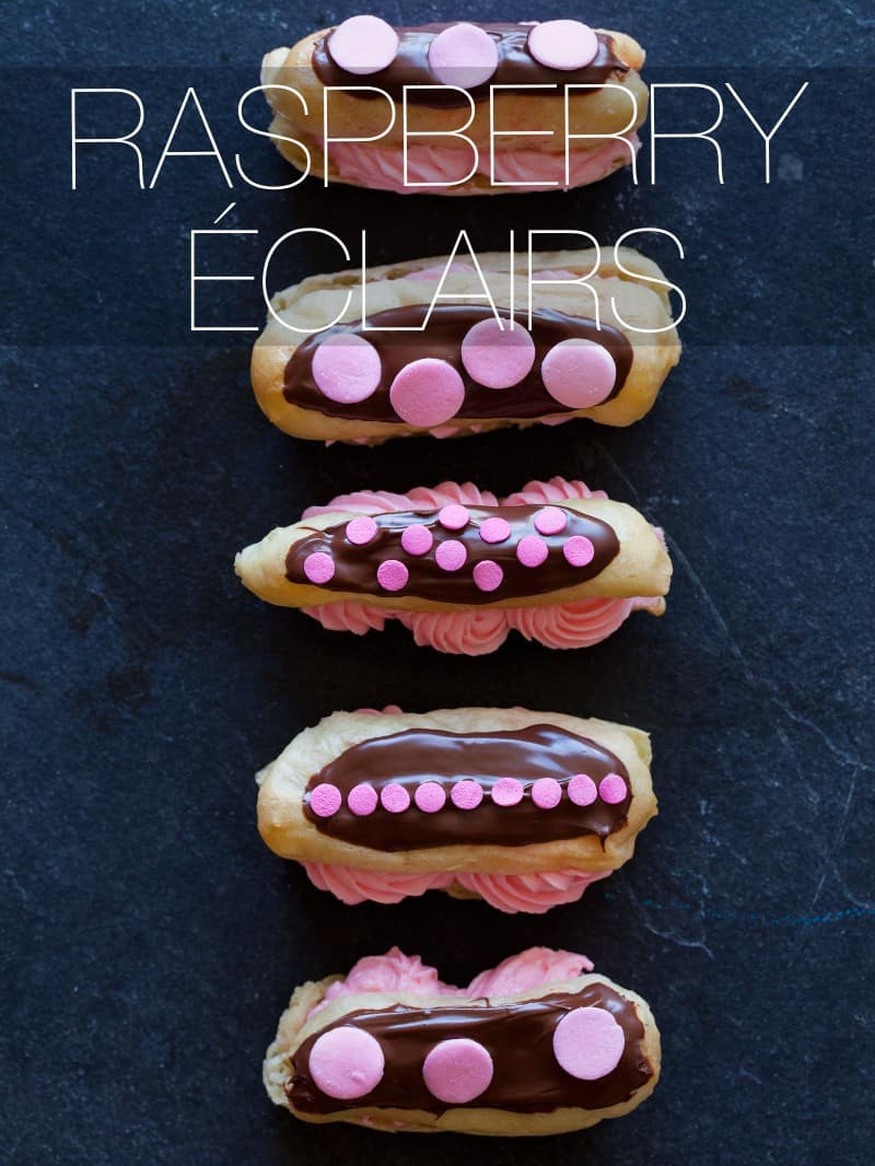 A recipe for Raspberry Éclairs.