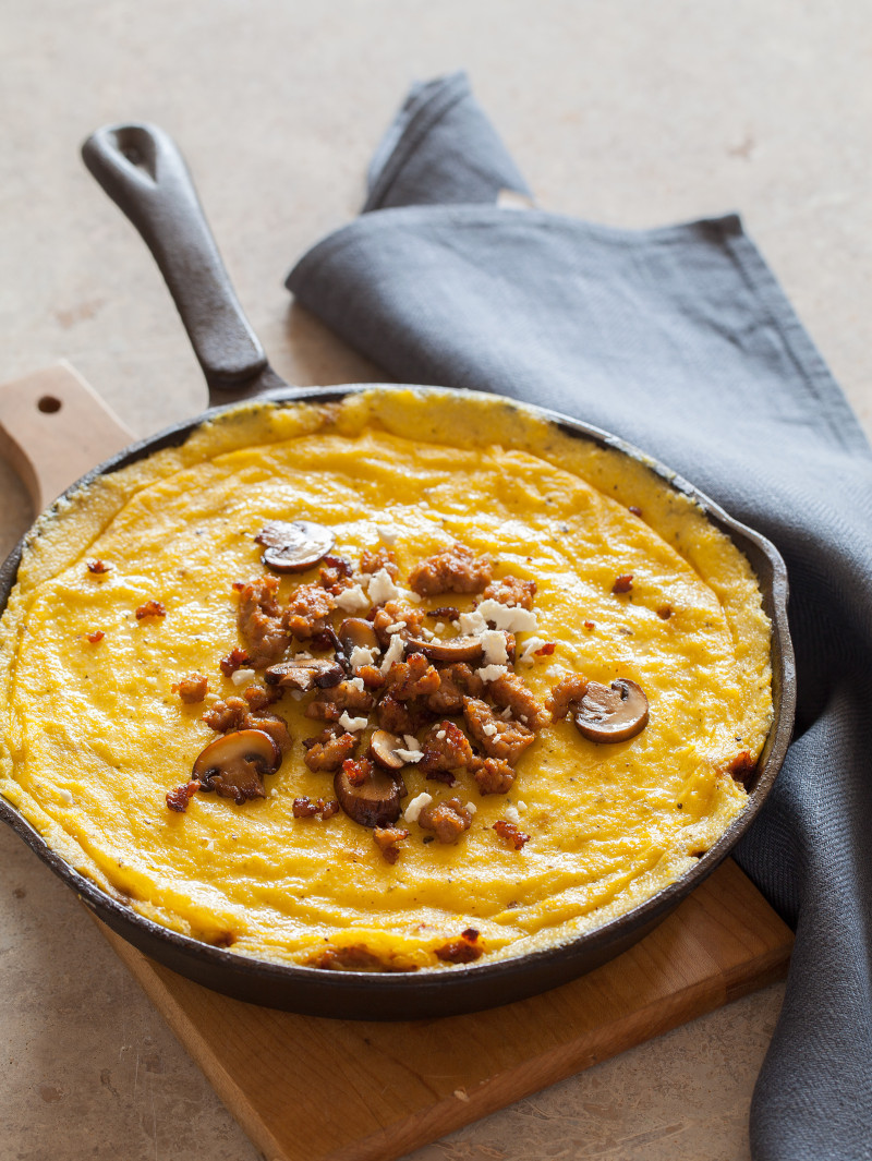 A recipe for Baked Polenta with mushrooms and sausage.