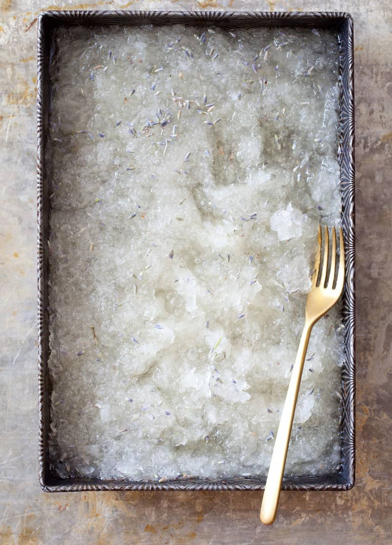 Honey and Lavender Granita recipe with pine nuts.