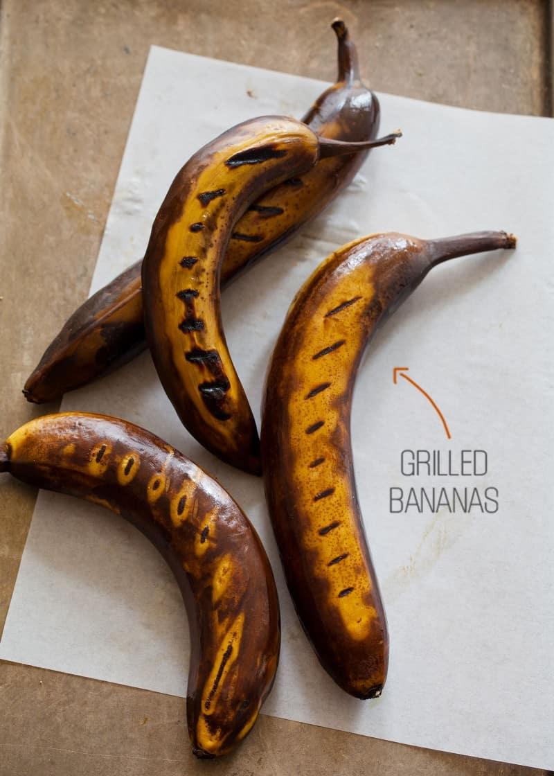Grilled bananas for grilled banana ketchup.