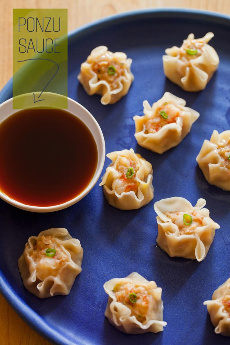 Shrimp Shu Mai recipe with a ponzu sauce.
