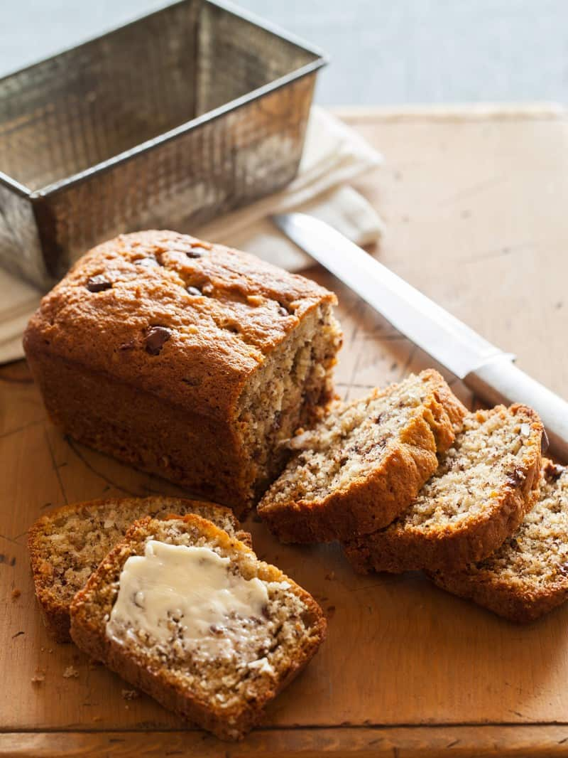 A twist on the traditional banana bread recipe. Chocolate Chip Coconut Banana Bread recipe.