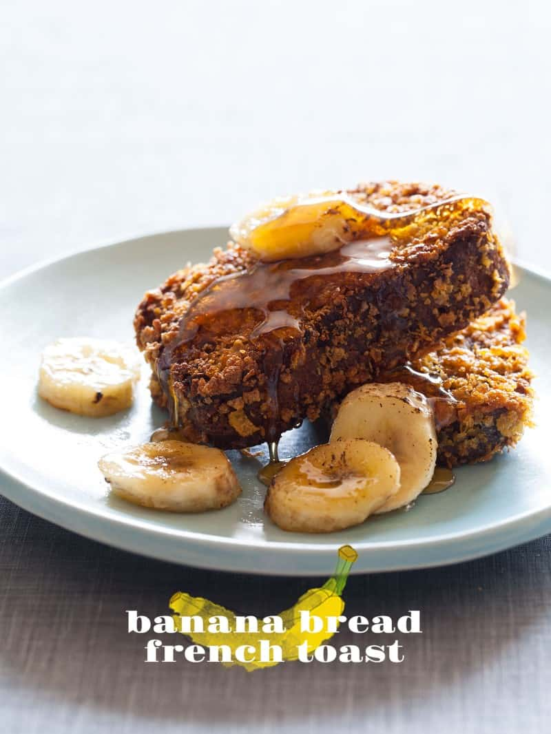 Banana Bread slices coated in corn flakes and cooked on the griddle.