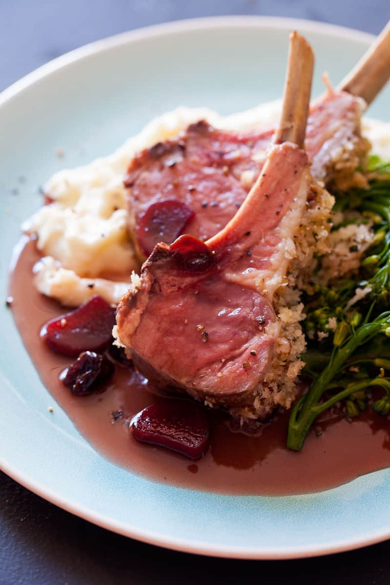 Roasted Rack of Lamb with a Rhubarb and Sour Cherry Gastrique.
