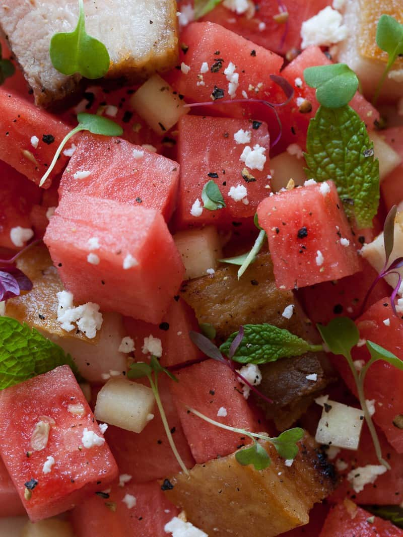 Watermelon Feta and Crispy Pork Belly Summer Salad recipe.