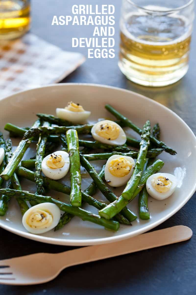 A simple summer salad recipe for Grilled Asparagus and Deviled Eggs.