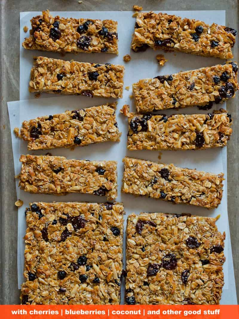 Homemade Granola Bars with cherries, blueberries, and coconut recipe