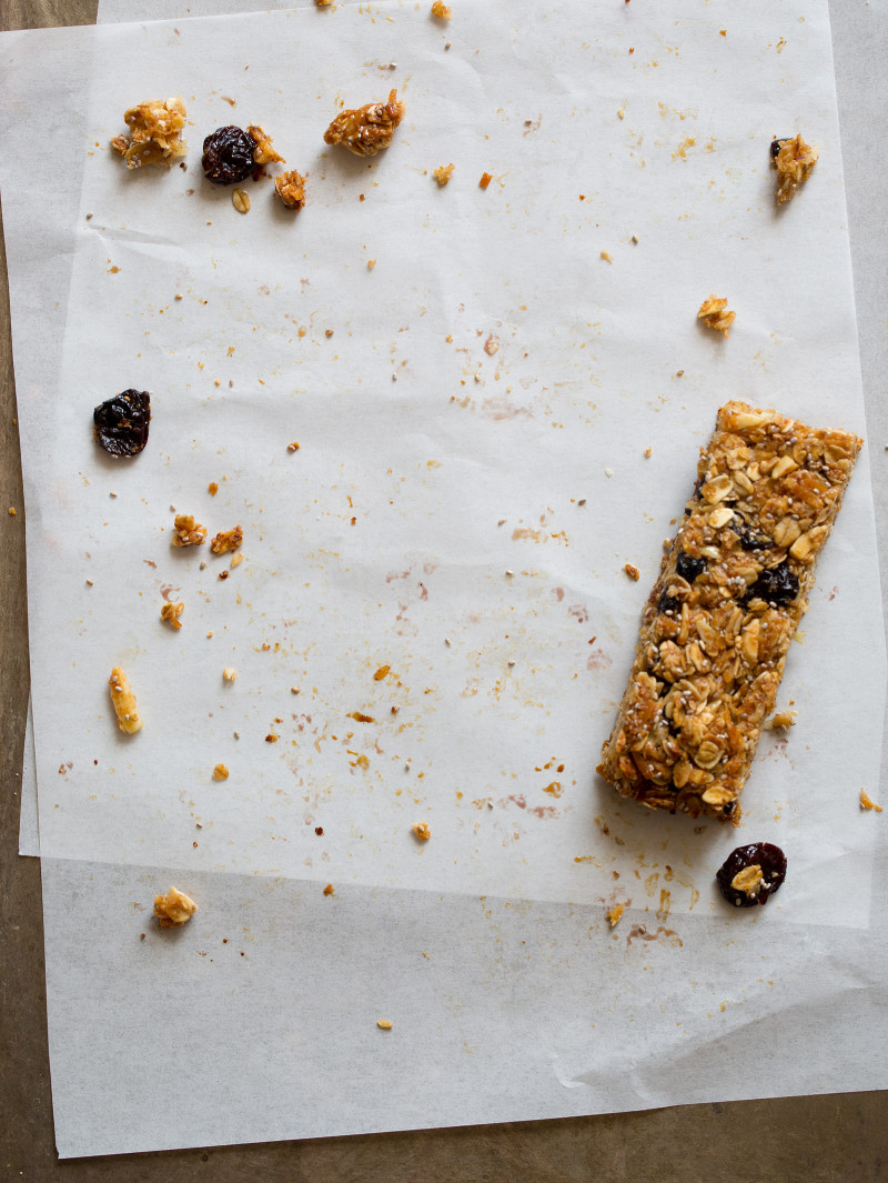 Homemade Granola Bars with cherries, blueberries, and coconut.