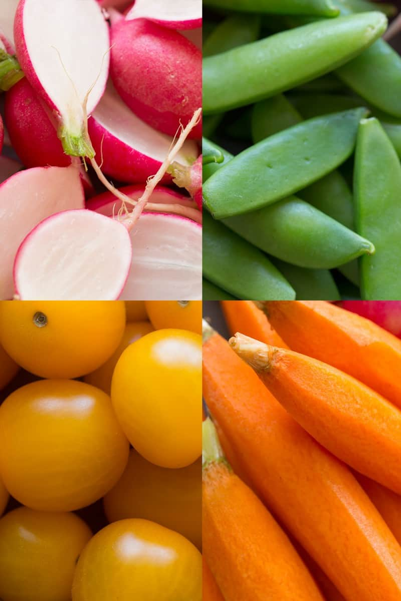 A photo grid of close ups of four different crudités.
