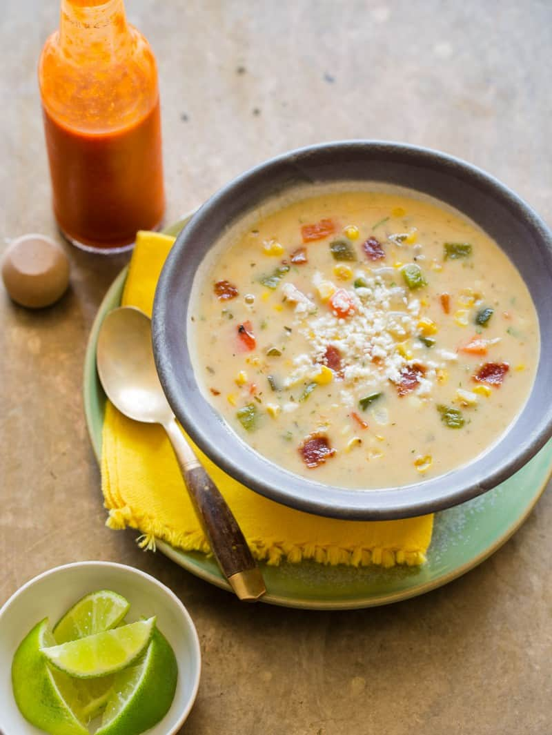 A delicious and creamy recipe for Roasted Corn Chowder.