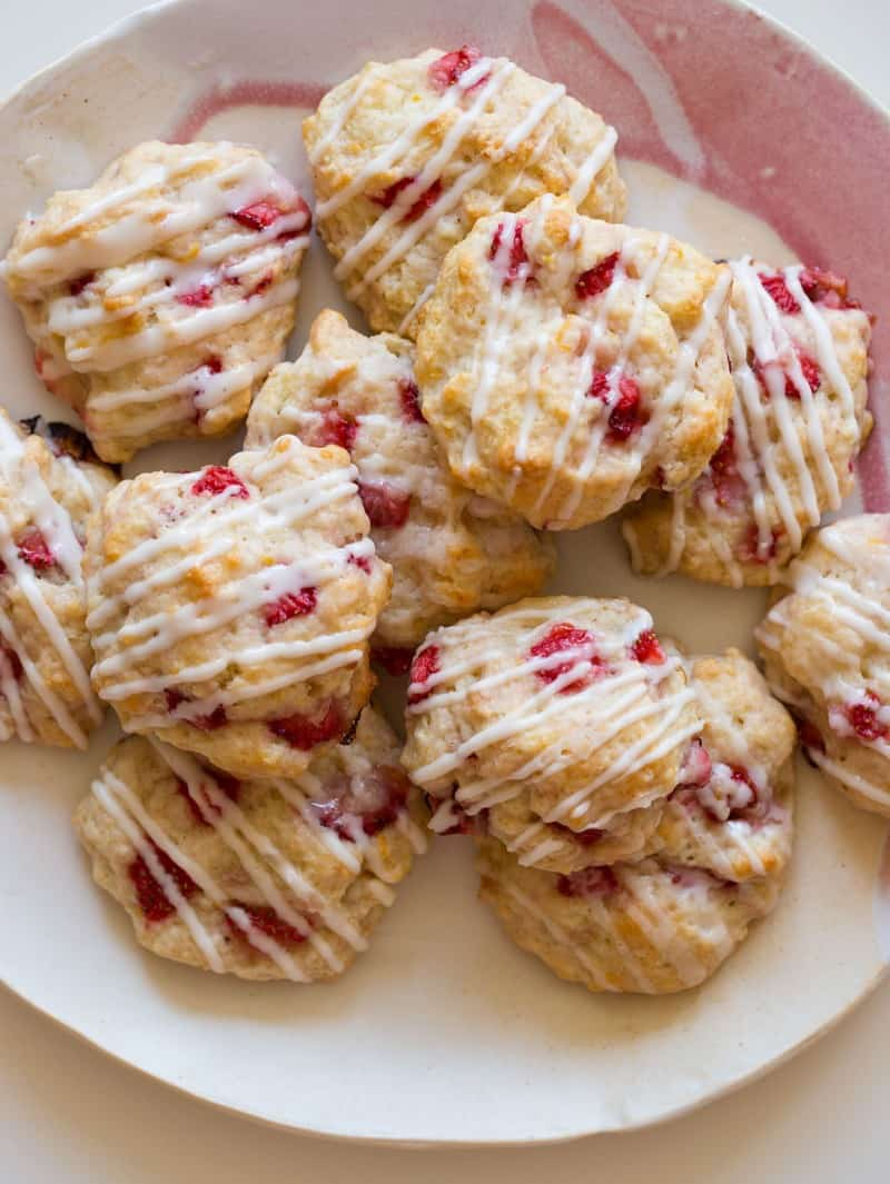 A recipe for Strawberries Shortcake Cookies with a vanilla glaze.