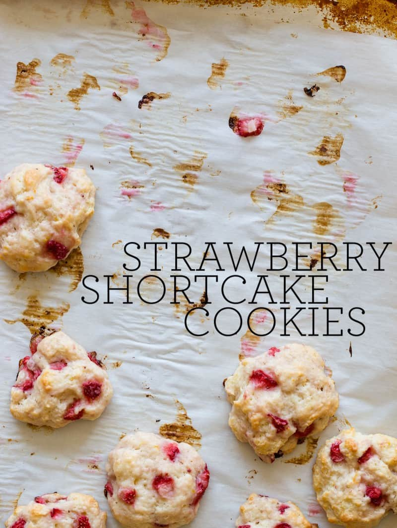 Strawberries Shortcake Cookies with a vanilla glaze.