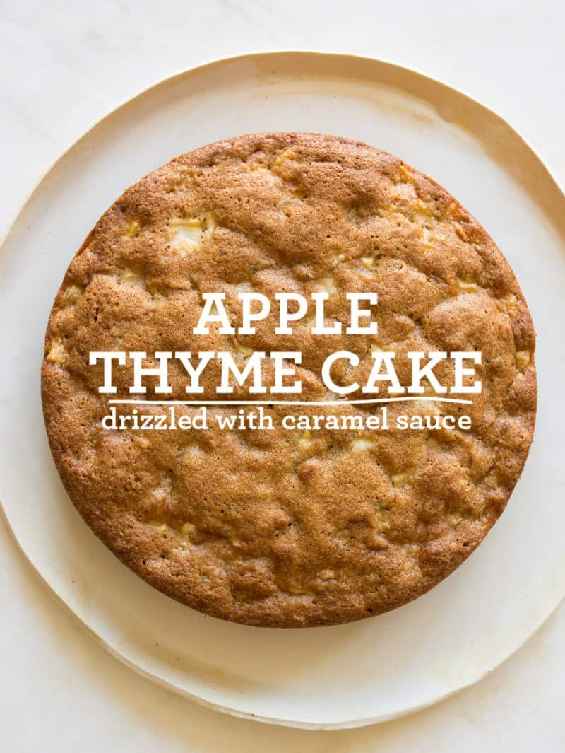 A recipe for Apply Thyme Cake with a Caramel drizzle.