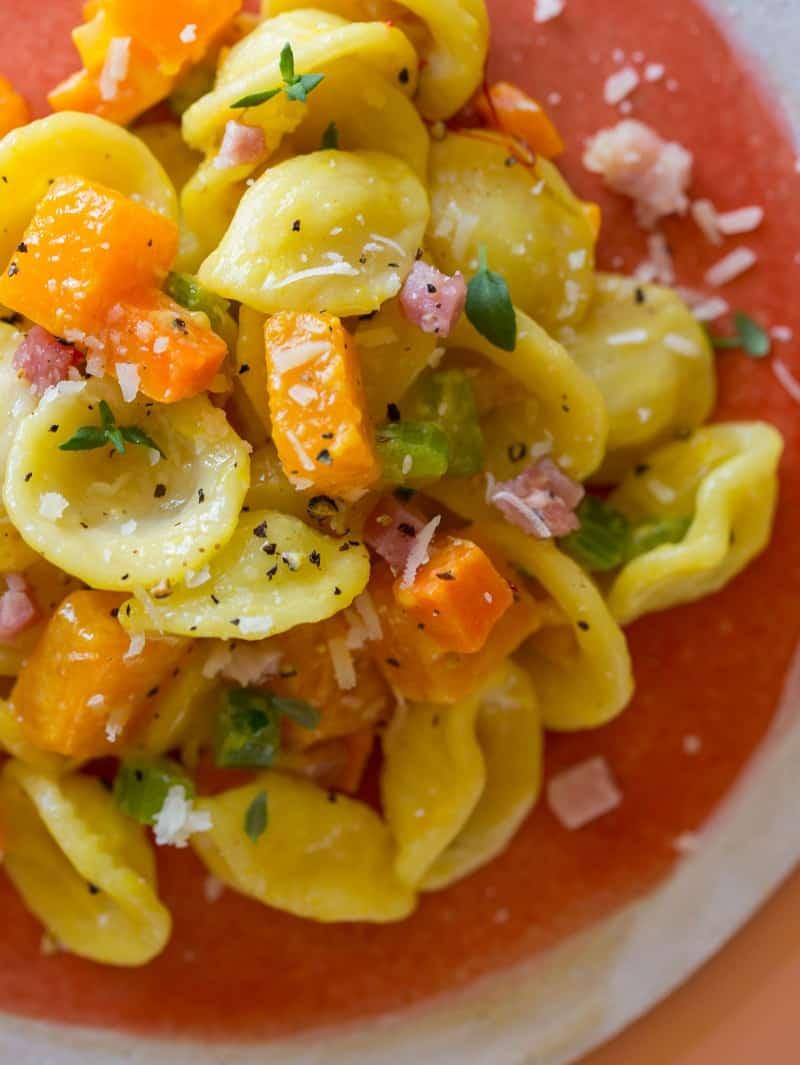 A close up of butternut squash and pancetta orecchiette.