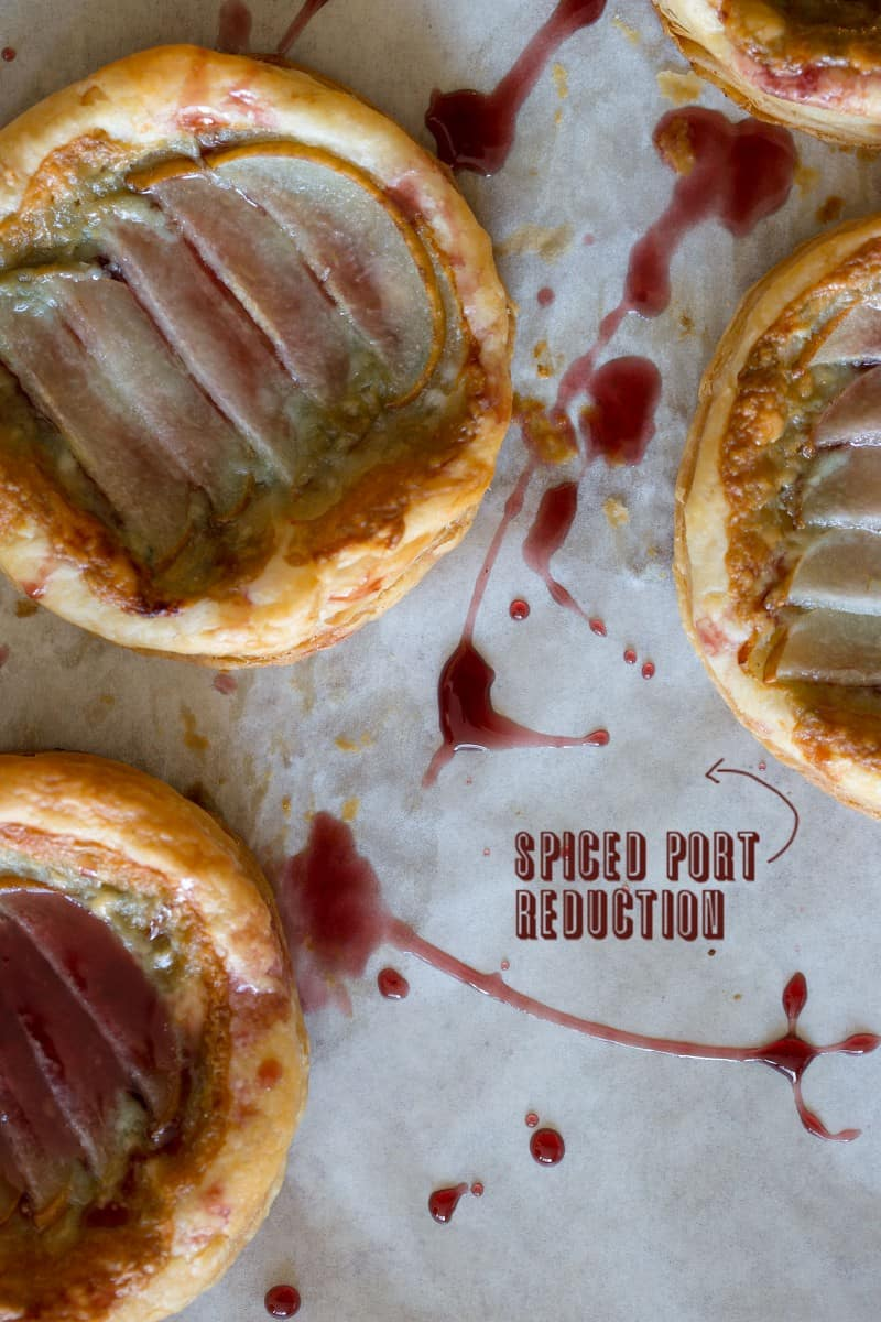 A recipe for Asian Pear Tartlets with a Spiced Port Reduction