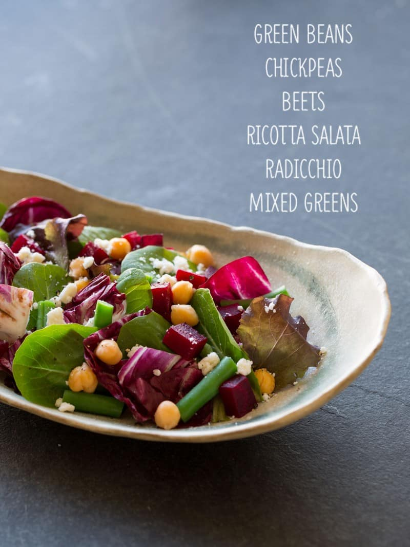 Everyday Awesome Salad with green beans, chickpeas, beets, ricotta salata, radicchio, and mixed greens.