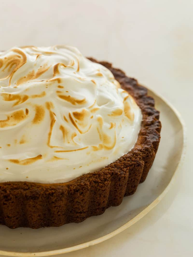 Candied Yam Pie with a light and fluffy meringue topping.
