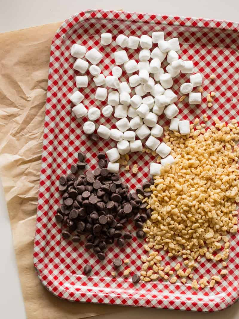 Ingredients for Chocolate Chip Rice Krispies Treat Cookies.