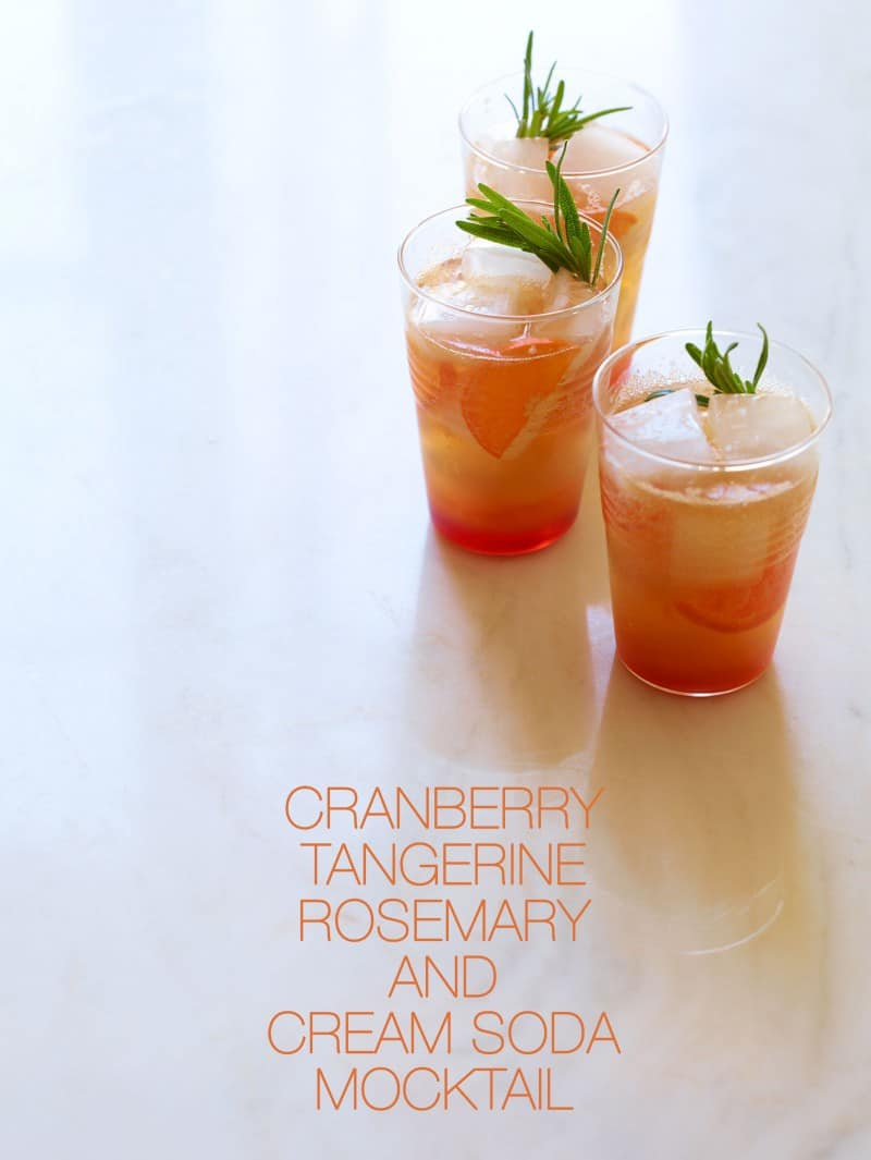 Cranberry Tangerine Rosemary and Cream Soda Mocktail recipe.