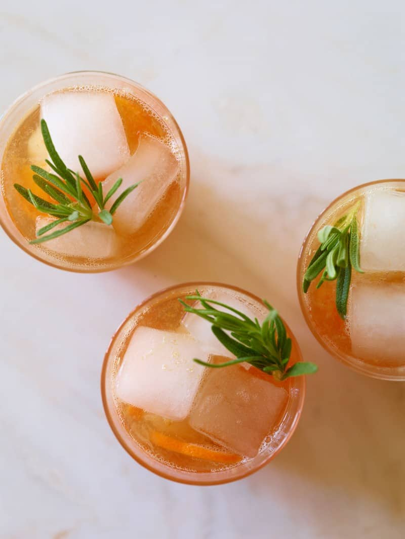 A recipe for Cranberry Tangerine Rosemary and Cream Soda Mocktail.