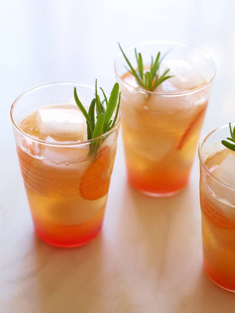 Cranberry Tangerine Rosemary and Cream Soda Mocktail.