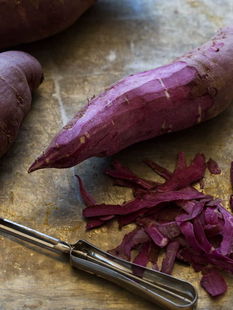 Purple sweet potatoes peeled for Mashed Purple Sweet Potatoes.