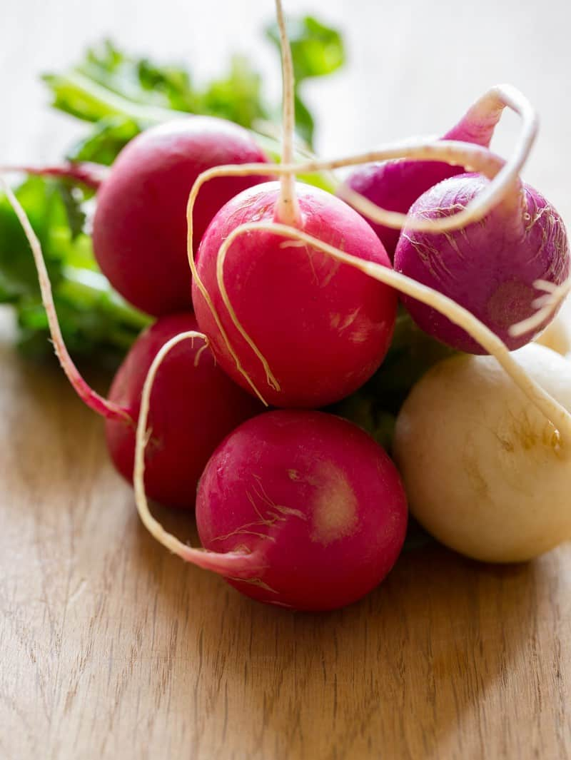 Radishes for a Yellowtail and Pomegranate Crudo.