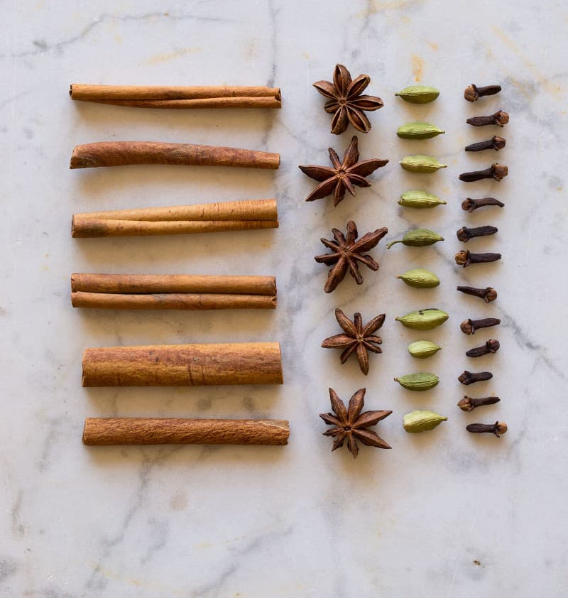 Spices for our Honeycrisp and Bourbon Spiced Cider. Cinnamon, cardamom, star anise, and cloves.