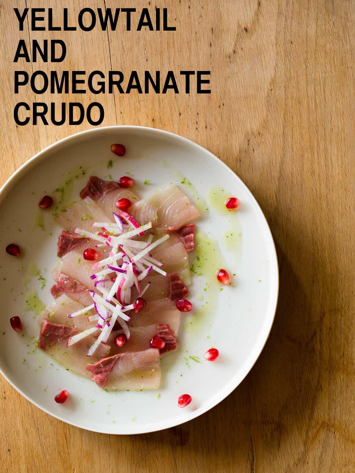 Yellowtail Pomegranate Crudo Spoon Fork Bacon