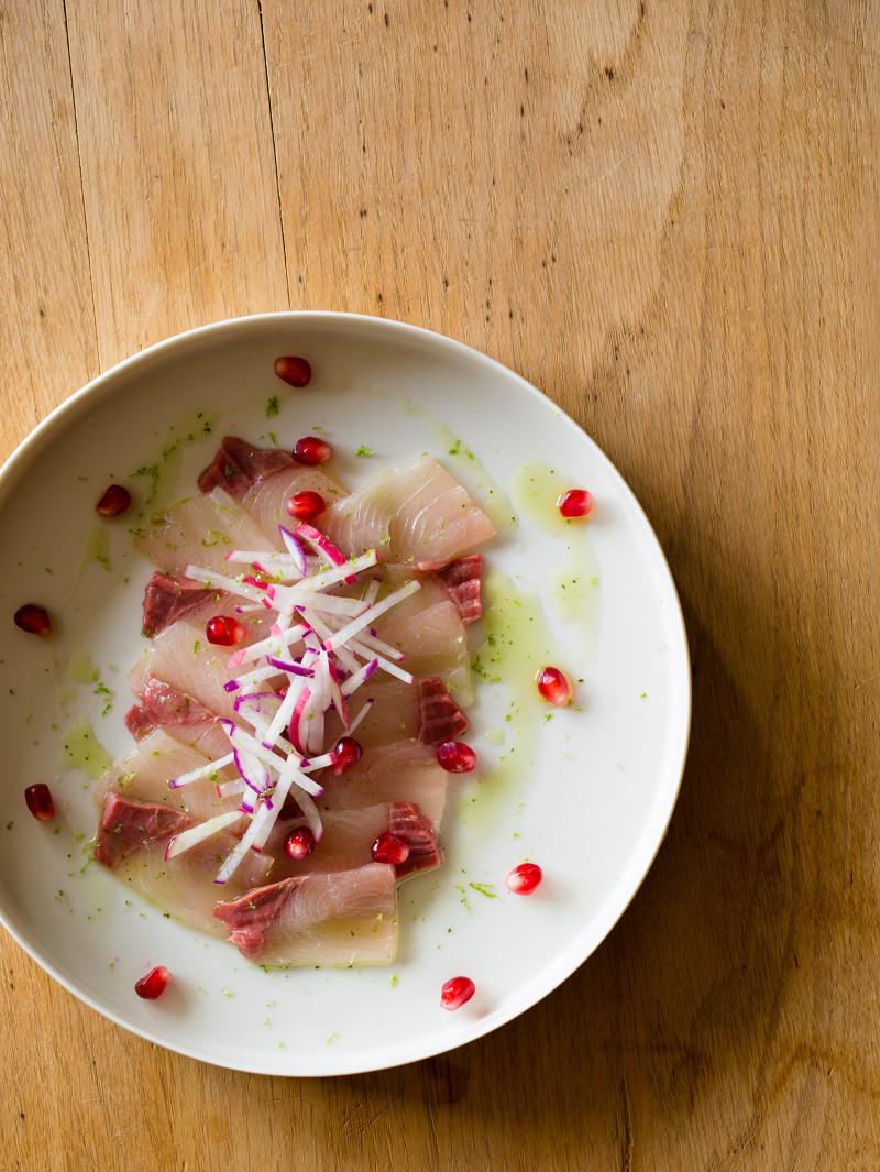 A recipe for a Yellowtail and Pomegranate Crudo.