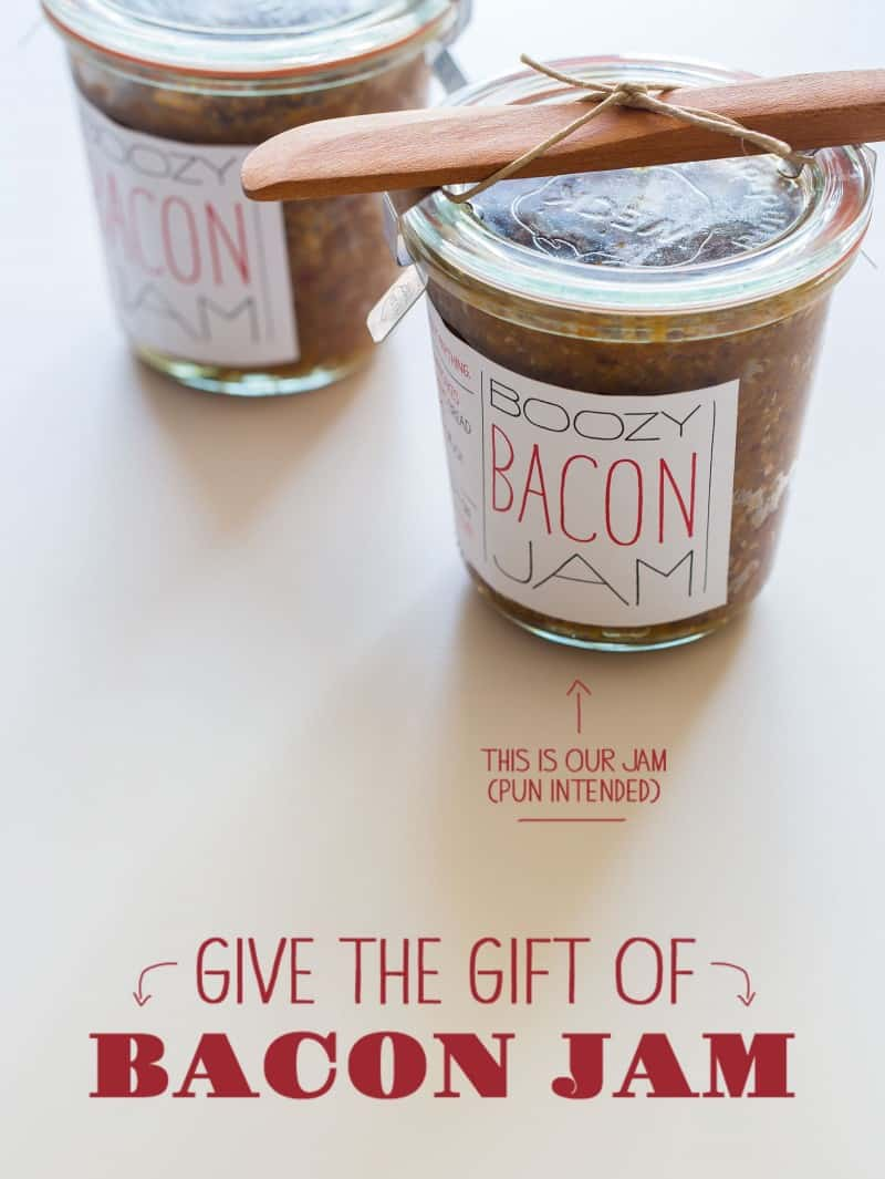 Bacon Jam recipe with printable labels.