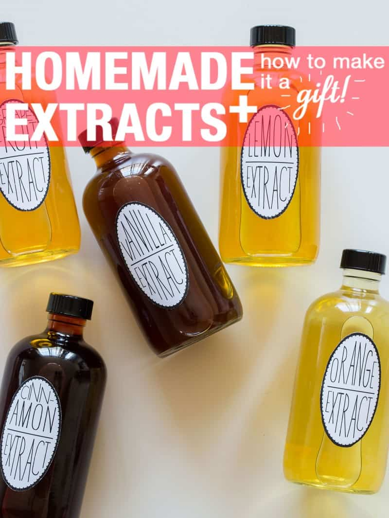 Recipes for lemon, vanilla, orange, cinnamon, and grapefruit extracts.