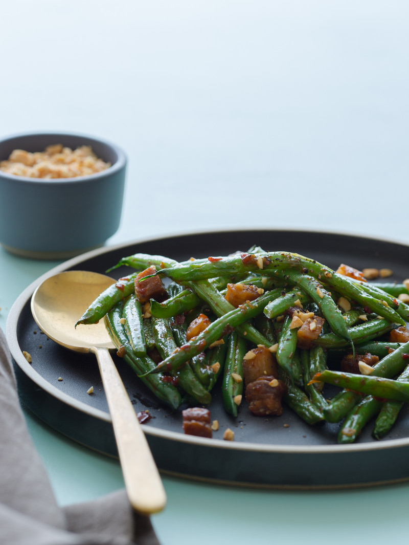 A recipe for Asian Style Green Beans with Crispy Cubes of Pork