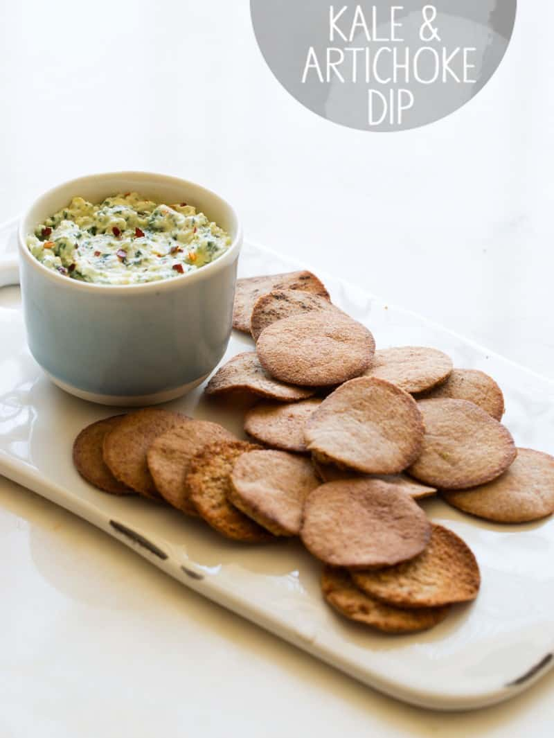 A recipe for Kale and Artichoke Dip with baked pita chips.