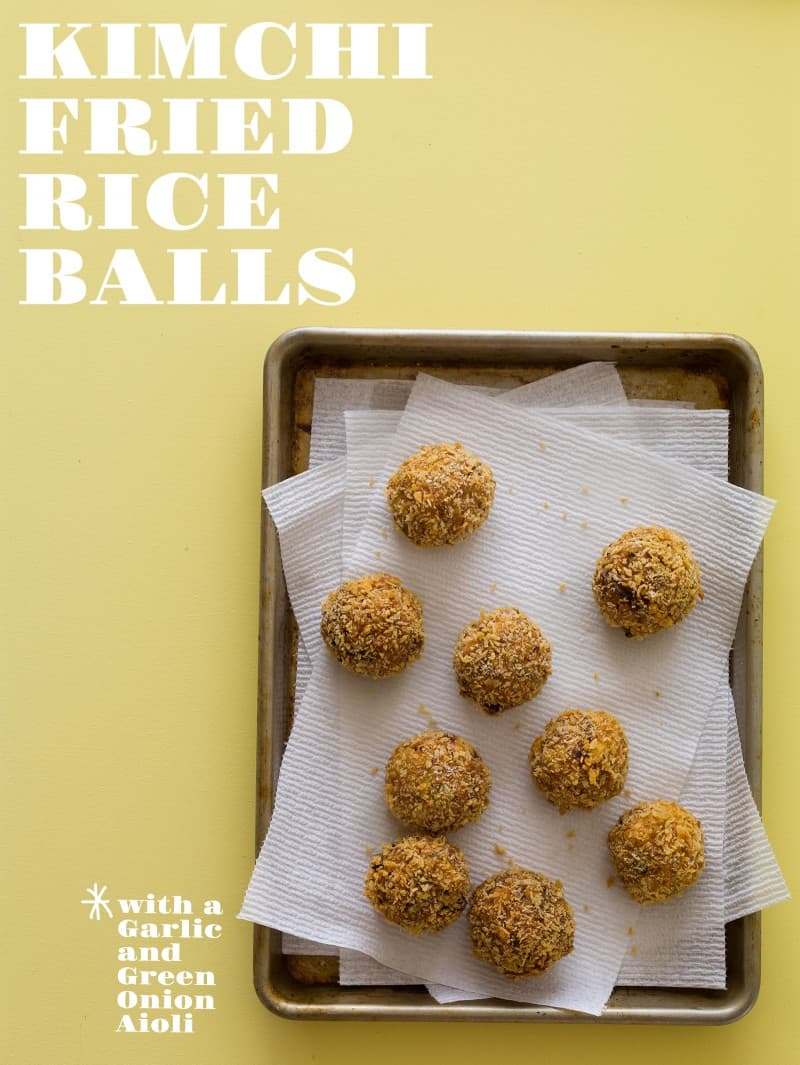 A recipe for Kimchi Fried Rice Balls.