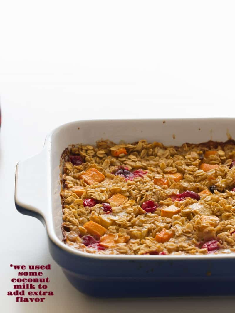 A recipe for Persimmon and Cranberry Baked Oatmeal with coconut milk.