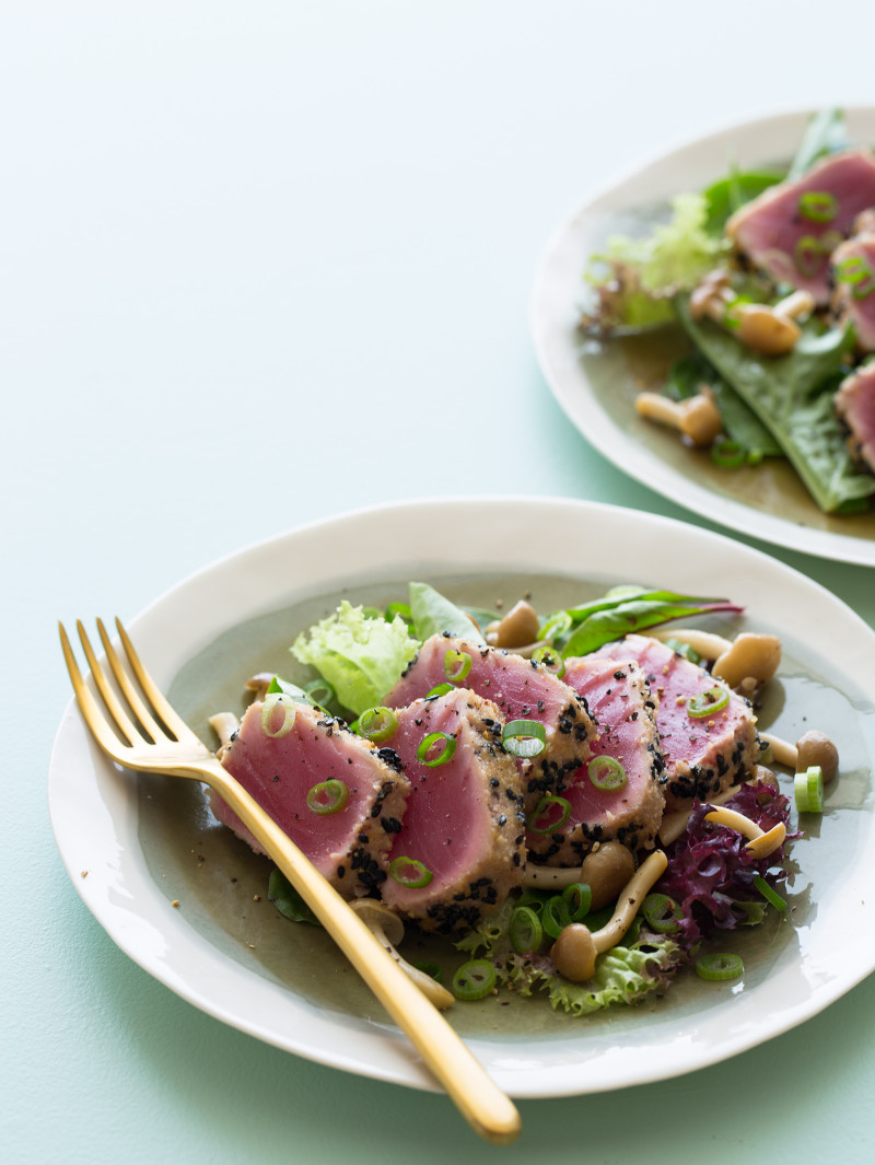 A recipe for Black Sesame and Almond Crusted Ahi Tuna.