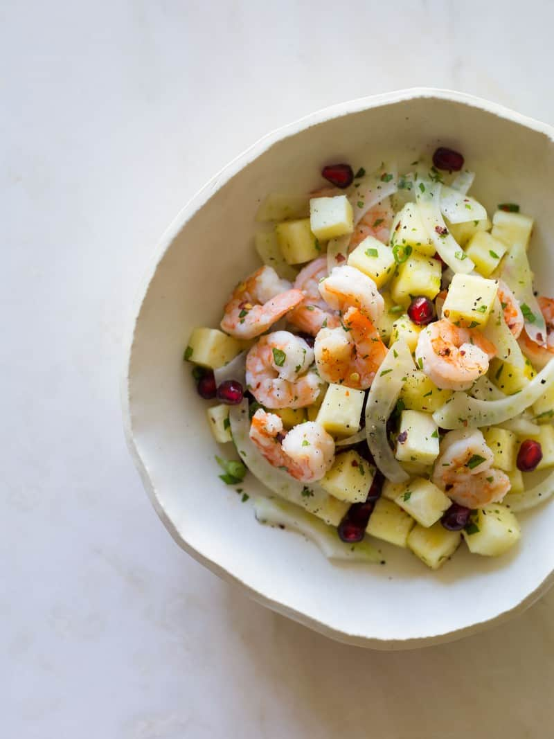 A recipe for Shrimp Pineapple and Pomegranate Salad
