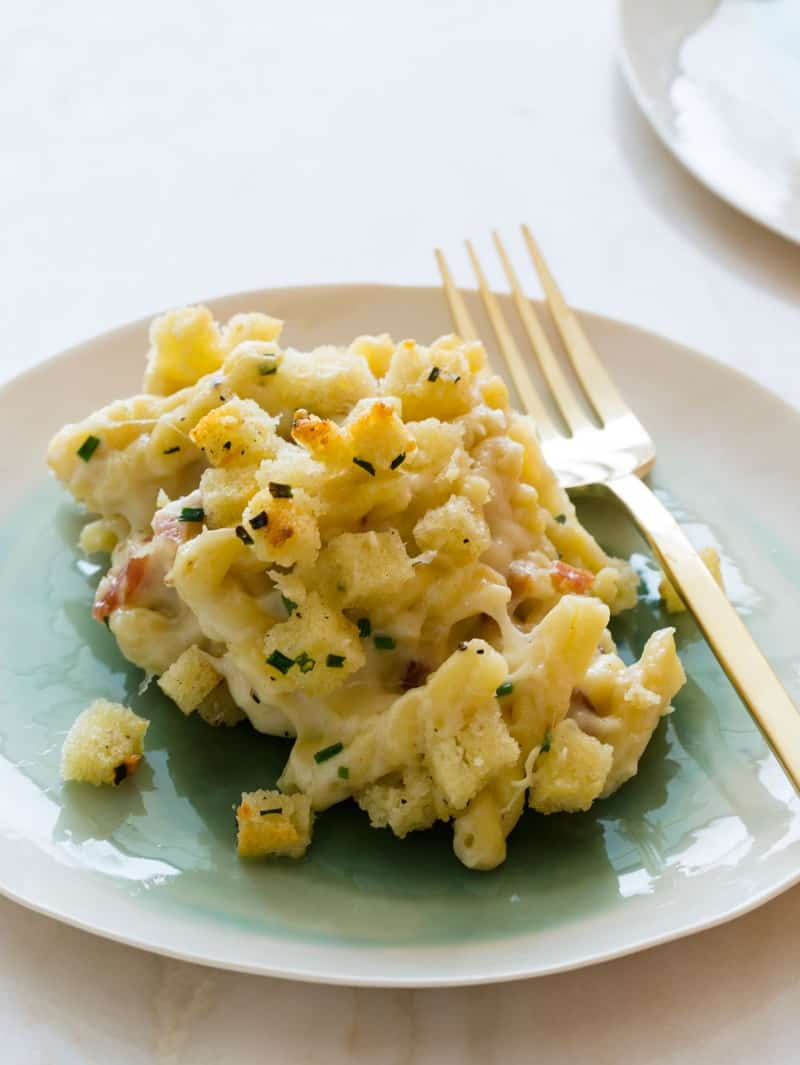 A recipe for Five Cheese Baked Mac and Cheese.
