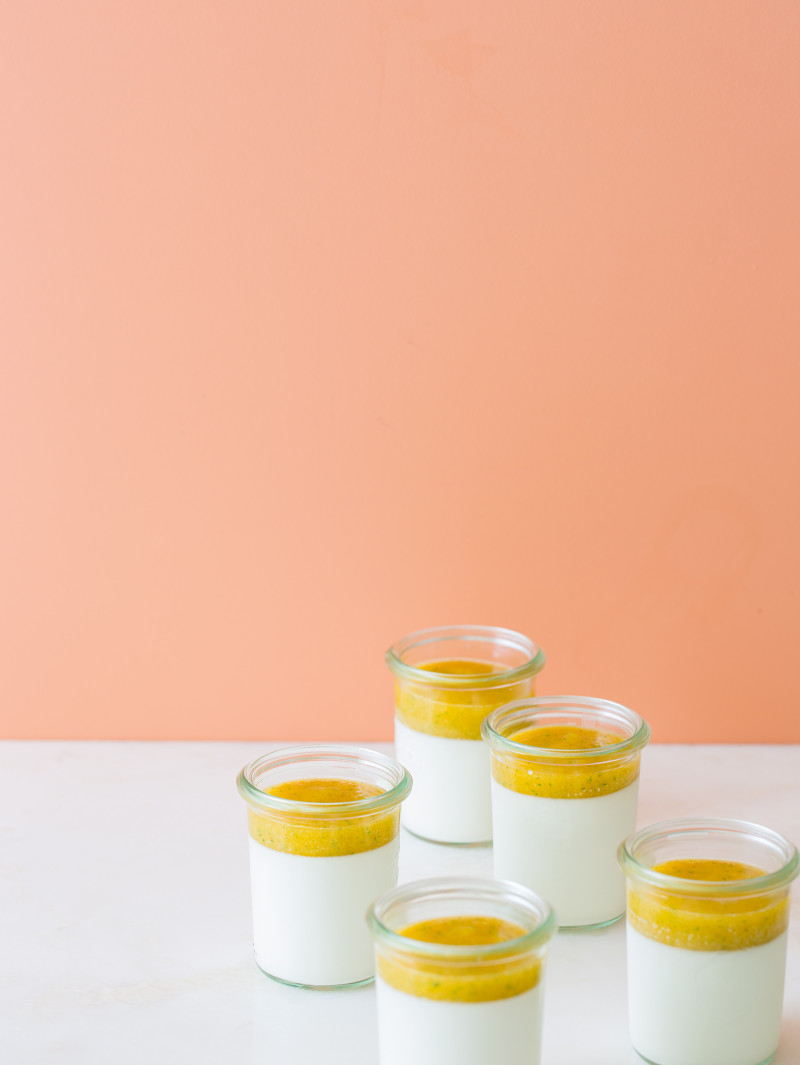 Vanilla Bean Panna Cotta with a mango and sage coulis