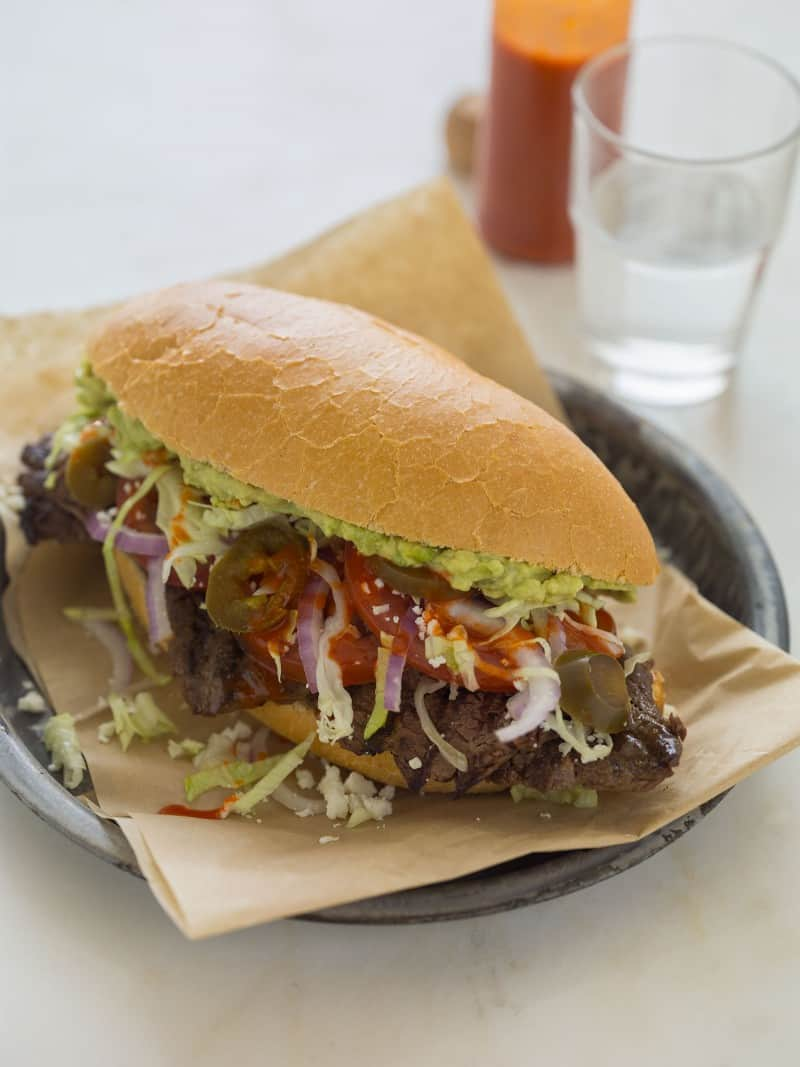 Carne Asada Torta recipe with guacamole.