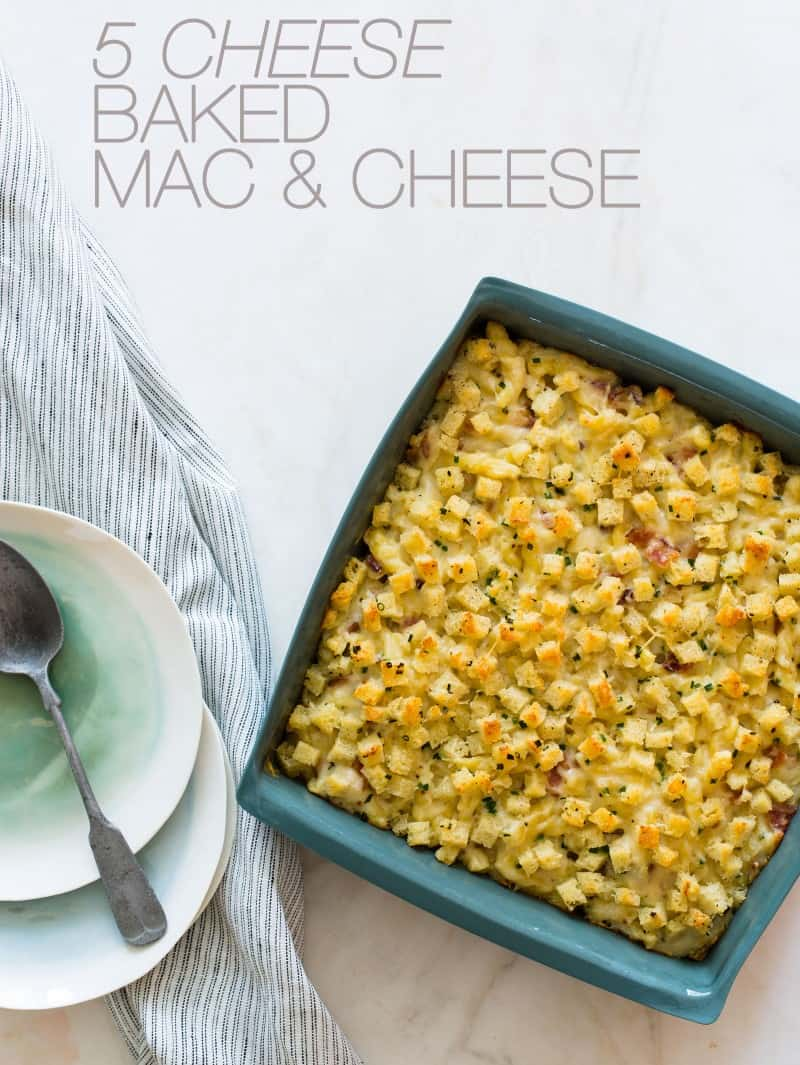 A delicious recipe for Five Cheese Baked Mac and Cheese.