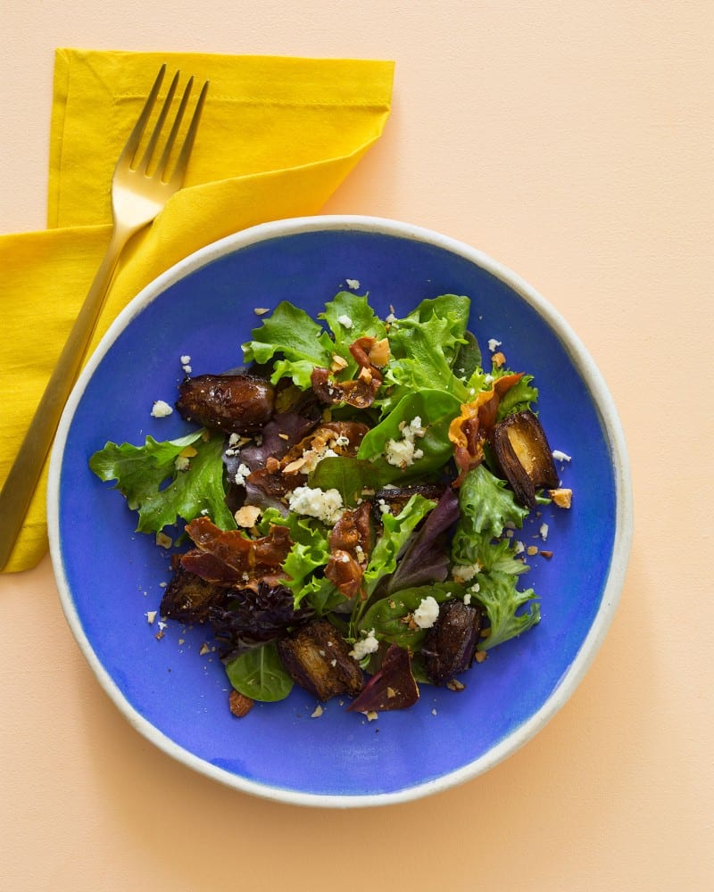 Roasted Date Salad with crispy prosciutto and toasted almonds.