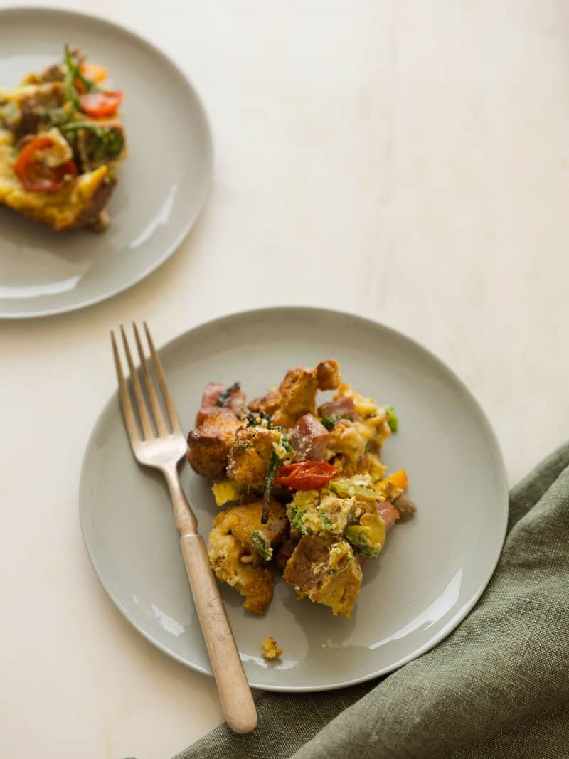 Savory Bread Pudding recipe using Sour Cream and Chive Biscuits.