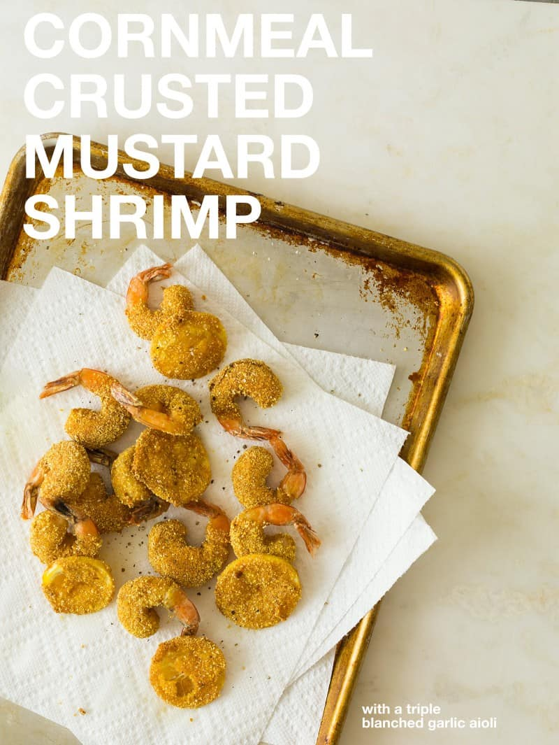 A recipe for Cornmeal Crusted Mustard Shrimp.