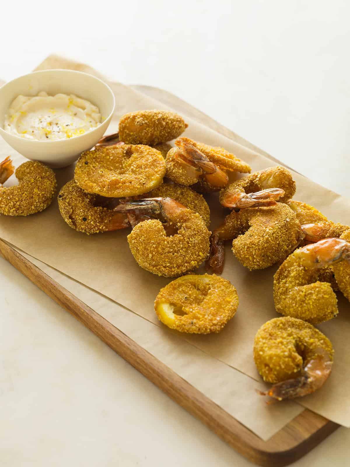 Cornmeal Crusted Mustard Shrimp
