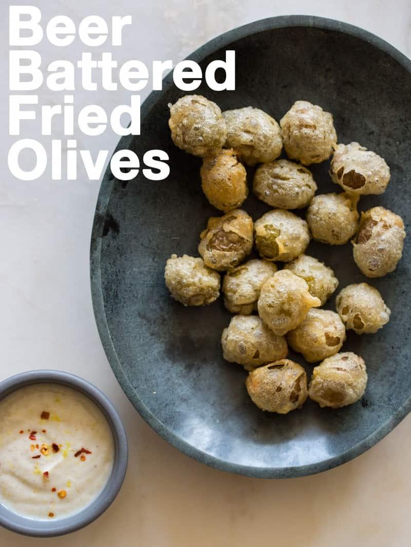 A recipe for Beer Battered Fried Olives.