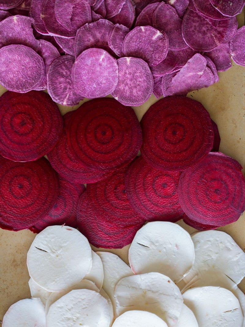 Yucca, purple sweet potatoes, and beets slices.