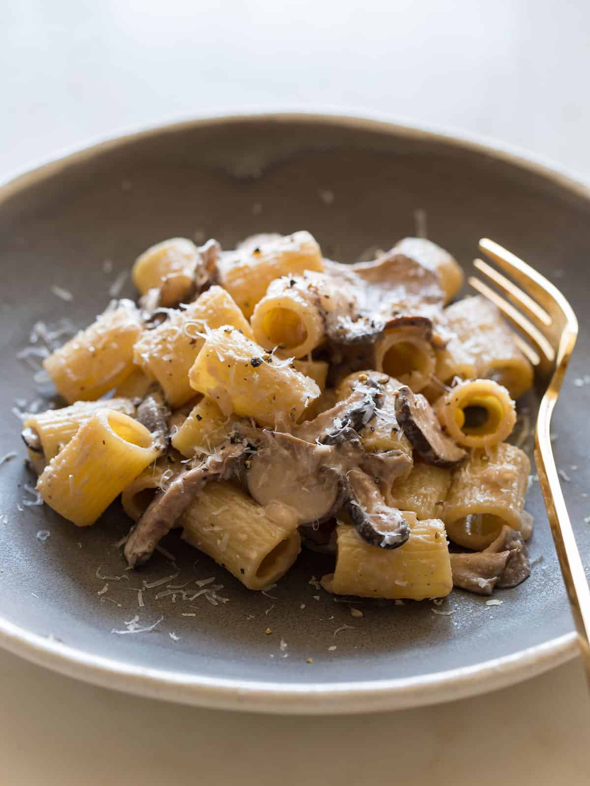 Mezzi Rigatoni With A Wild Mushroom Cream Sauce Spoon Fork Bacon